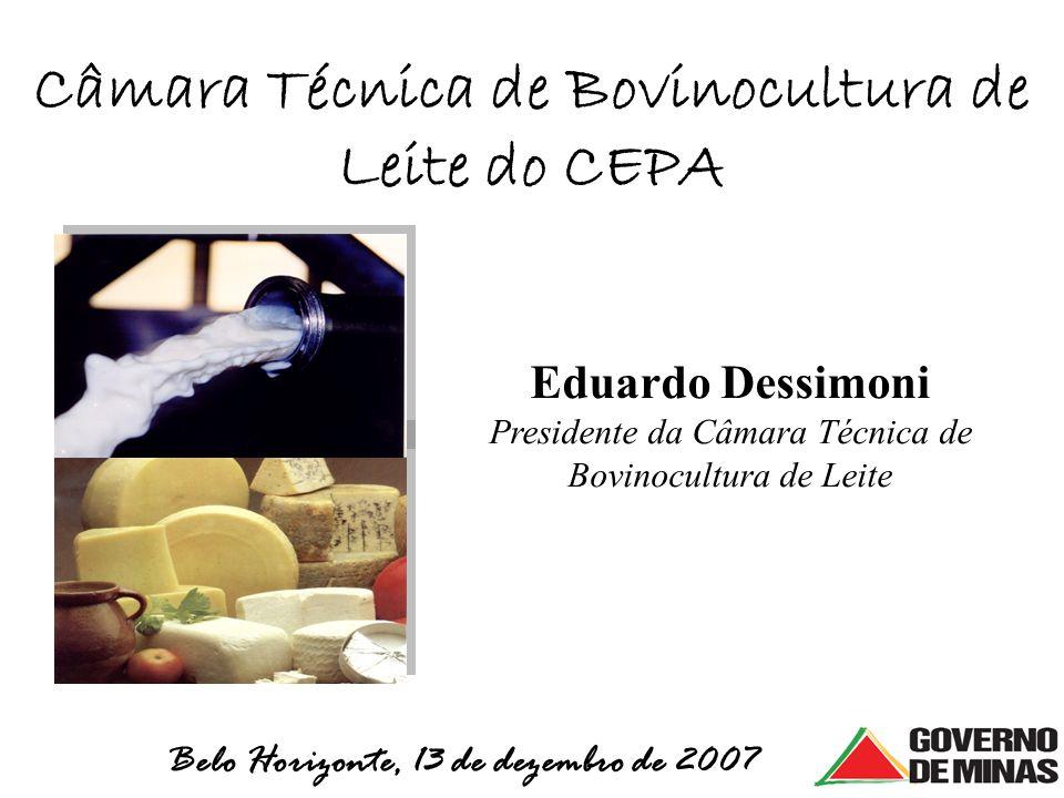 Câmara Técnica de Bovinocultura de Leite do CEPA Belo Horizonte, 13 de dezembro de 2007 Eduardo Dessimoni Presidente da Câmara Técnica de Bovinocultur