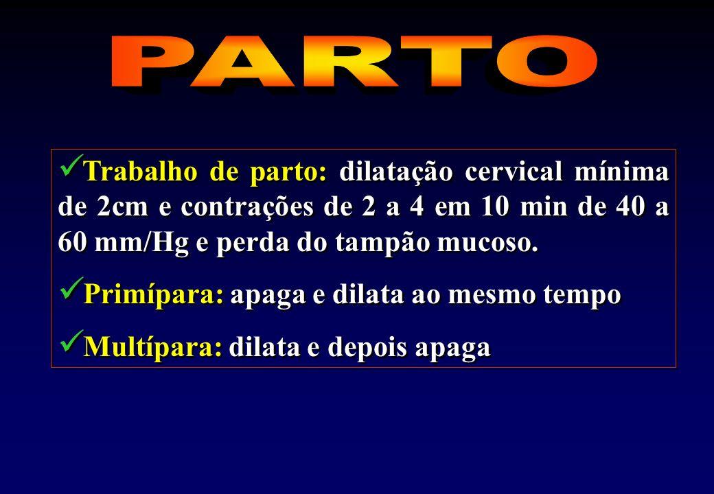 Trabalho de parto: dilatação cervical mínima de 2cm e contrações de 2 a 4 em 10 min de 40 a 60 mm/Hg e perda do tampão mucoso.