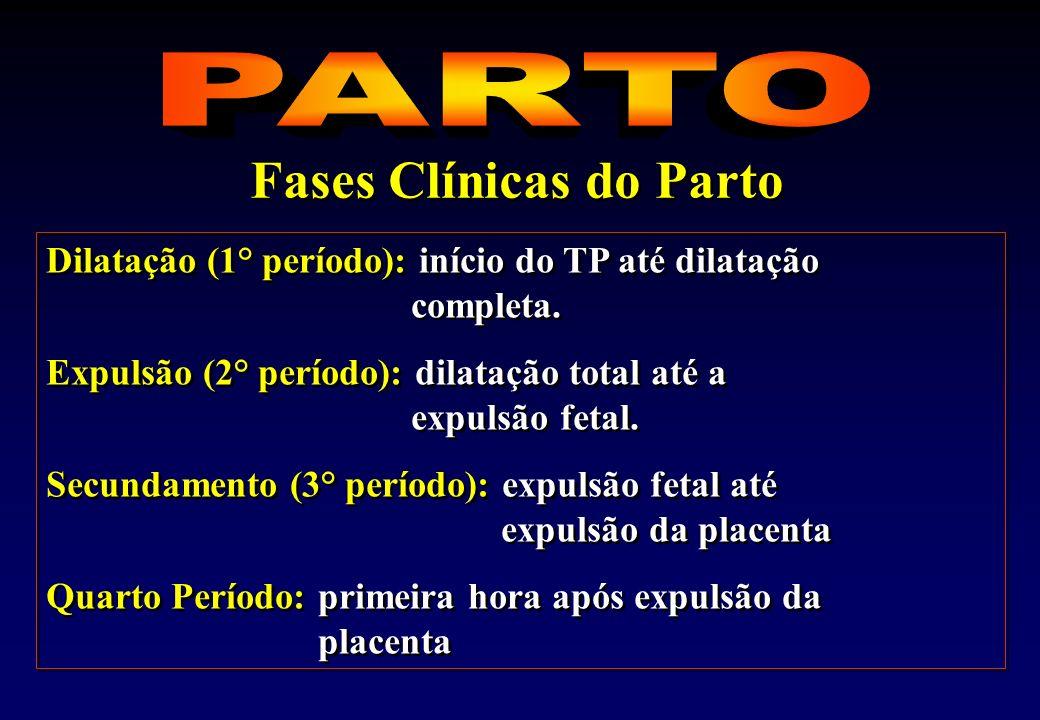 Dilatação (1° período): início do TP até dilatação completa.