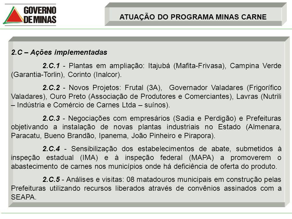 2.C – Ações implementadas 2.C.1 - Plantas em ampliação: Itajubá (Mafita-Frivasa), Campina Verde (Garantia-Torlin), Corinto (Inalcor). 2.C.2 - Novos Pr
