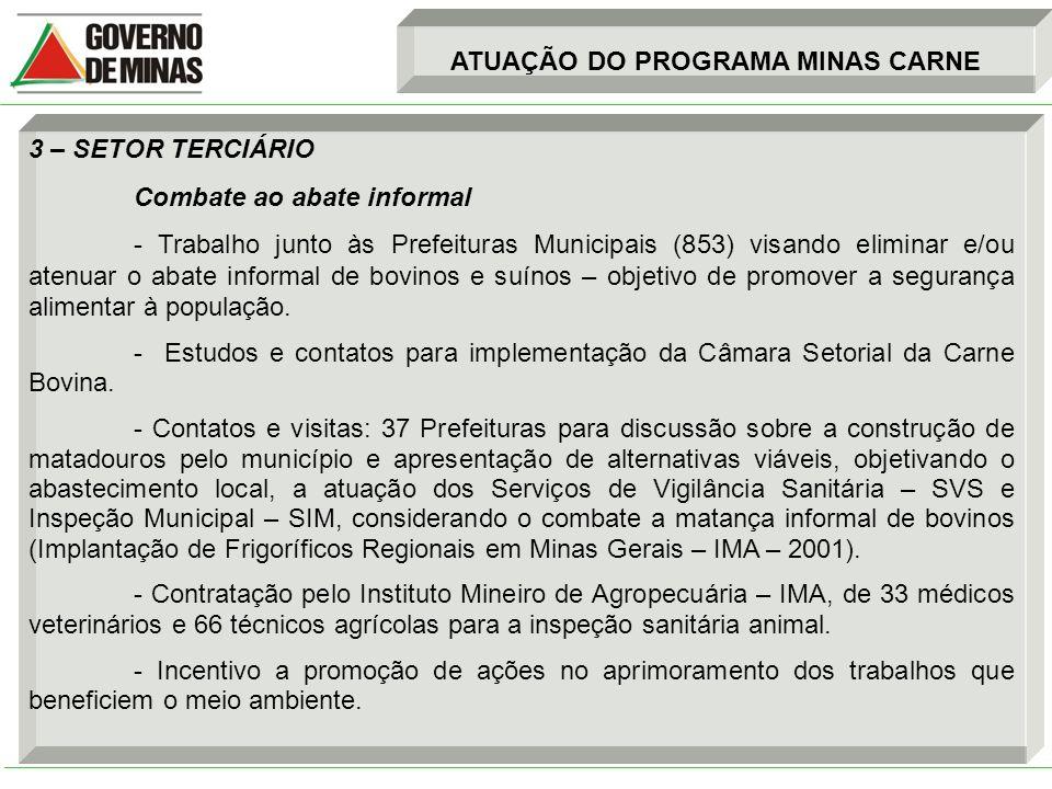 3 – SETOR TERCIÁRIO Combate ao abate informal - Trabalho junto às Prefeituras Municipais (853) visando eliminar e/ou atenuar o abate informal de bovin