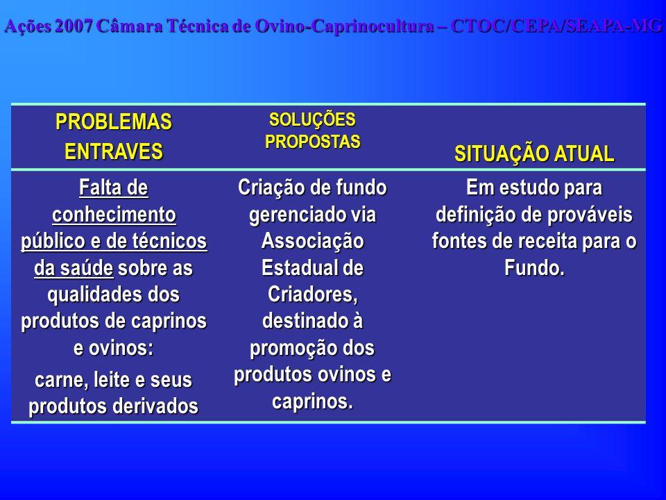 PROBLEMAS ENTRAVES SOLUÇÕES PROPOSTAS SITUAÇÃO ATUAL Falta de conhecimento público e de técnicos da saúde sobre as qualidades dos produtos de caprinos