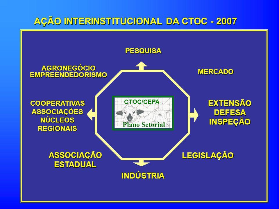 AÇÃO INTERINSTITUCIONAL DA CTOC - 2007 LEGISLAÇÃO EXTENSÃODEFESAINSPEÇÃO MERCADO PESQUISA AGRONEGÓCIOEMPREENDEDORISMO COOPERATIVASASSOCIAÇÕESNÚCLEOSREGIONAIS ASSOCIAÇÃOESTADUAL INDÚSTRIA CTOC/CEPA Plano Setorial