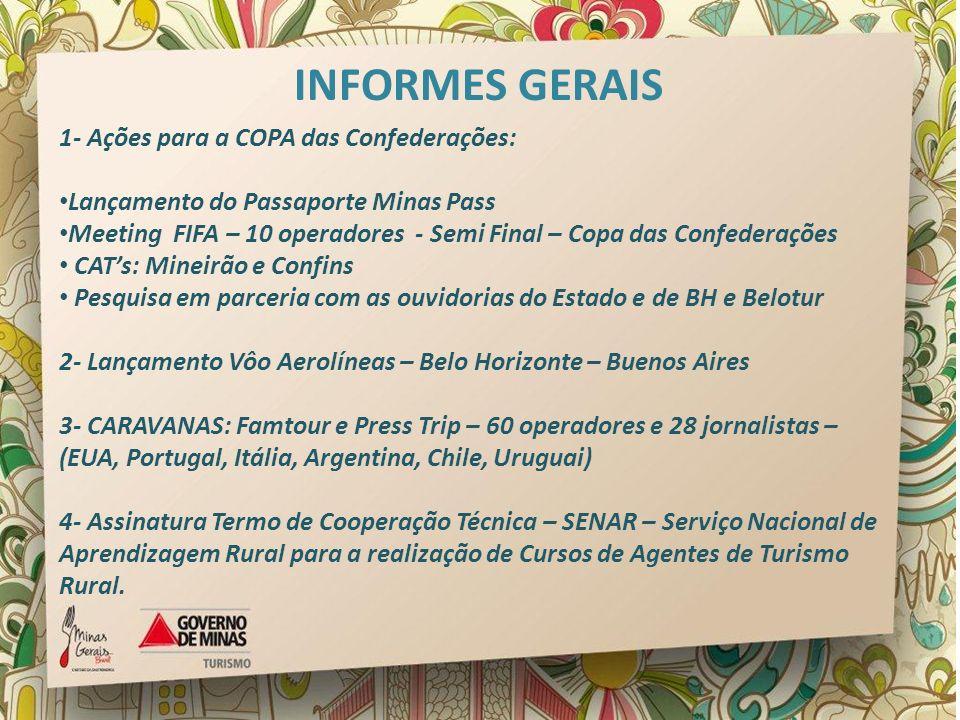 1- Ações para a COPA das Confederações: Lançamento do Passaporte Minas Pass Meeting FIFA – 10 operadores - Semi Final – Copa das Confederações CATs: M