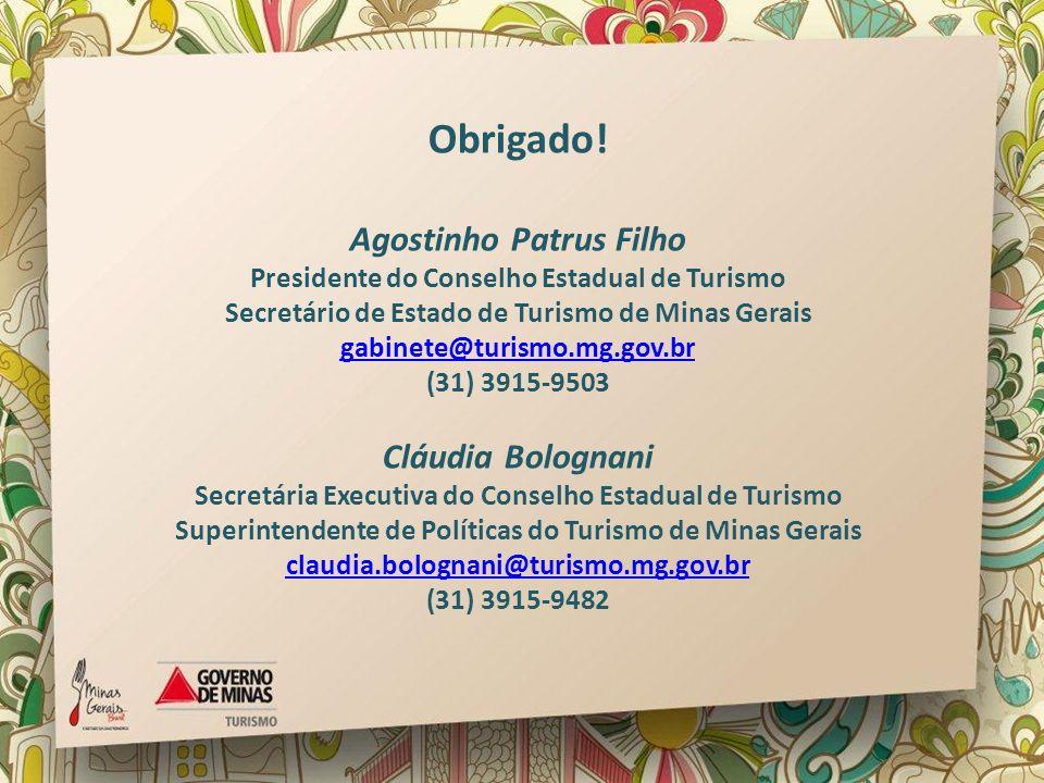 Obrigado! Agostinho Patrus Filho Presidente do Conselho Estadual de Turismo Secretário de Estado de Turismo de Minas Gerais gabinete@turismo.mg.gov.br