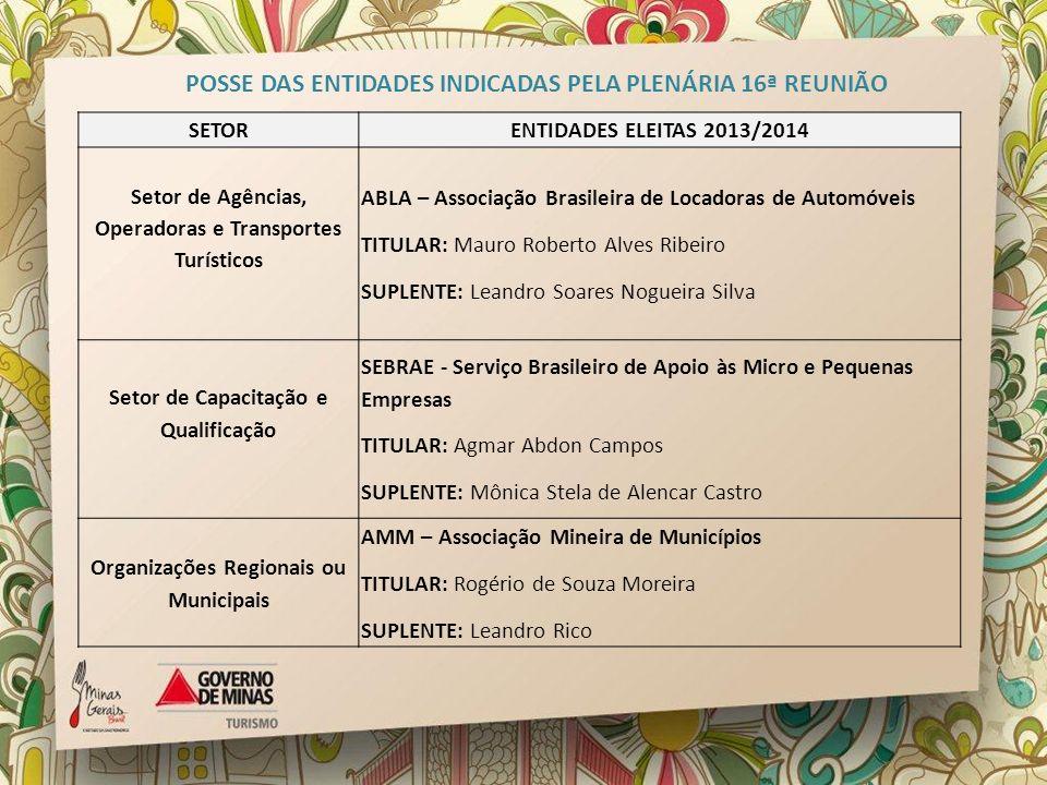 SETORENTIDADES ELEITAS 2013/2014 Setor de Agências, Operadoras e Transportes Turísticos ABLA – Associação Brasileira de Locadoras de Automóveis TITULA