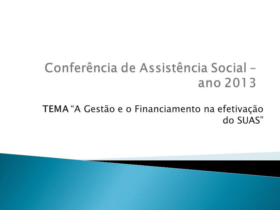 TEMA A Gestão e o Financiamento na efetivação do SUAS
