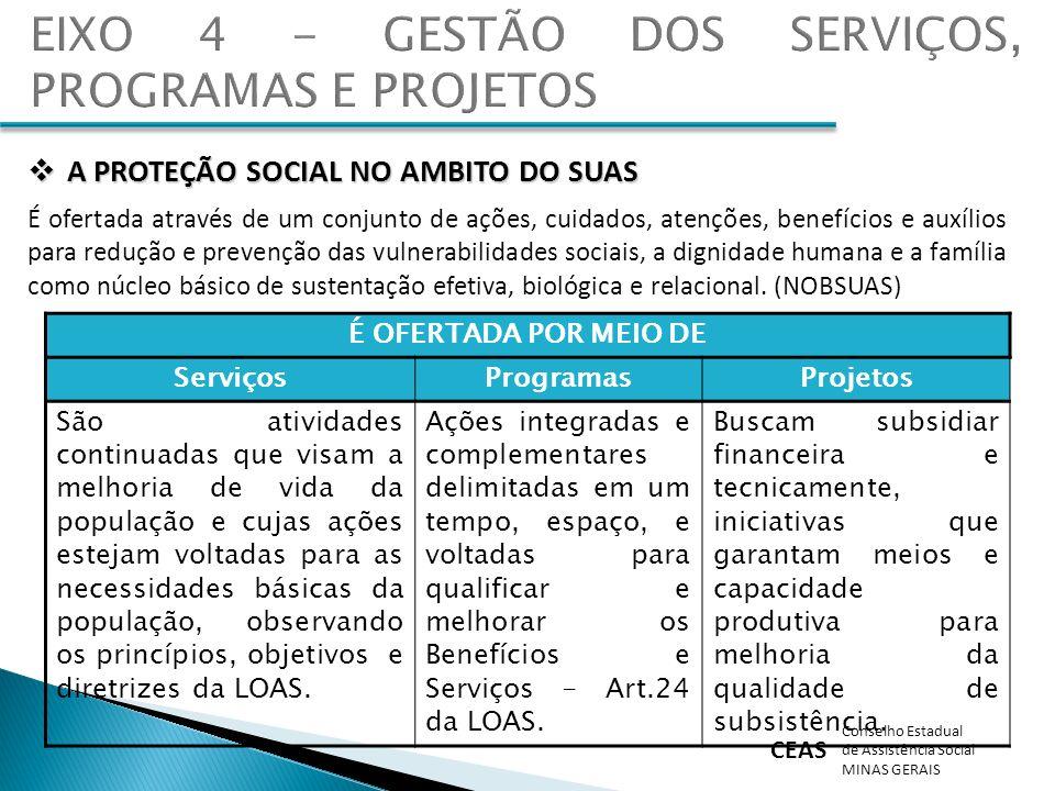 CEAS Conselho Estadual de Assistência Social MINAS GERAIS É OFERTADA POR MEIO DE ServiçosProgramasProjetos São atividades continuadas que visam a melh