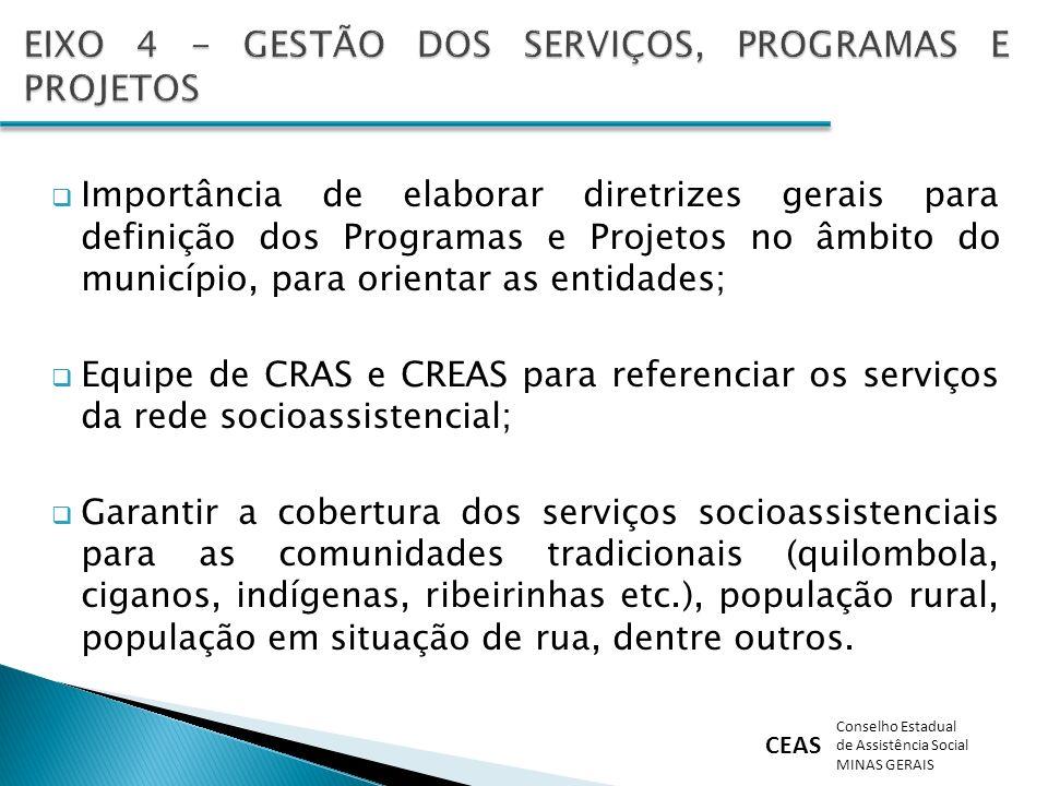 CEAS Conselho Estadual de Assistência Social MINAS GERAIS Importância de elaborar diretrizes gerais para definição dos Programas e Projetos no âmbito