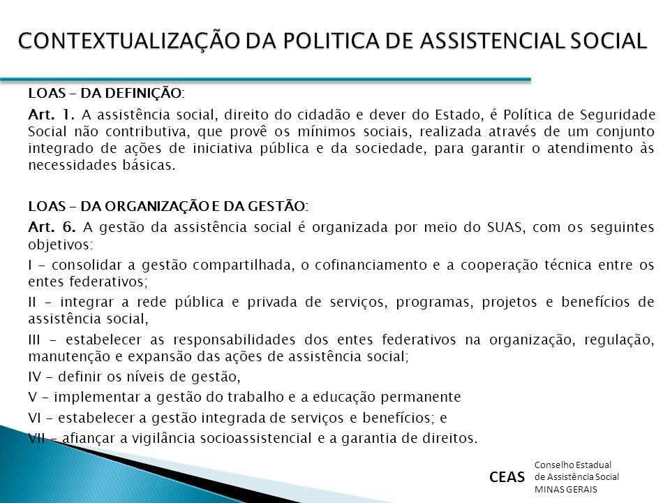 CEAS Conselho Estadual de Assistência Social MINAS GERAIS LOAS - DA DEFINIÇÃO: Art. 1. A assistência social, direito do cidadão e dever do Estado, é P