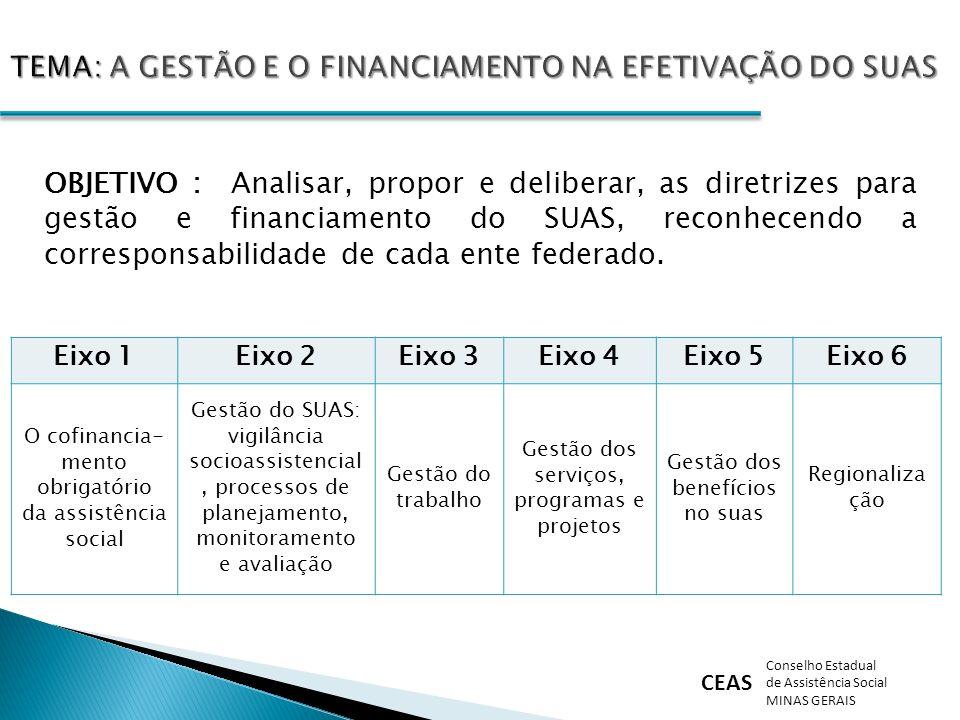 CEAS Conselho Estadual de Assistência Social MINAS GERAIS OBJETIVO : Analisar, propor e deliberar, as diretrizes para gestão e financiamento do SUAS,