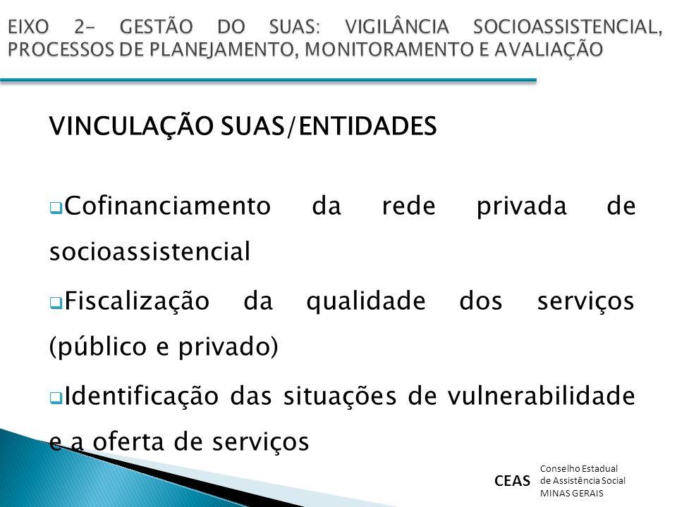 CEAS Conselho Estadual de Assistência Social MINAS GERAIS VINCULAÇÃO SUAS/ENTIDADES Cofinanciamento da rede privada de socioassistencial Fiscalização