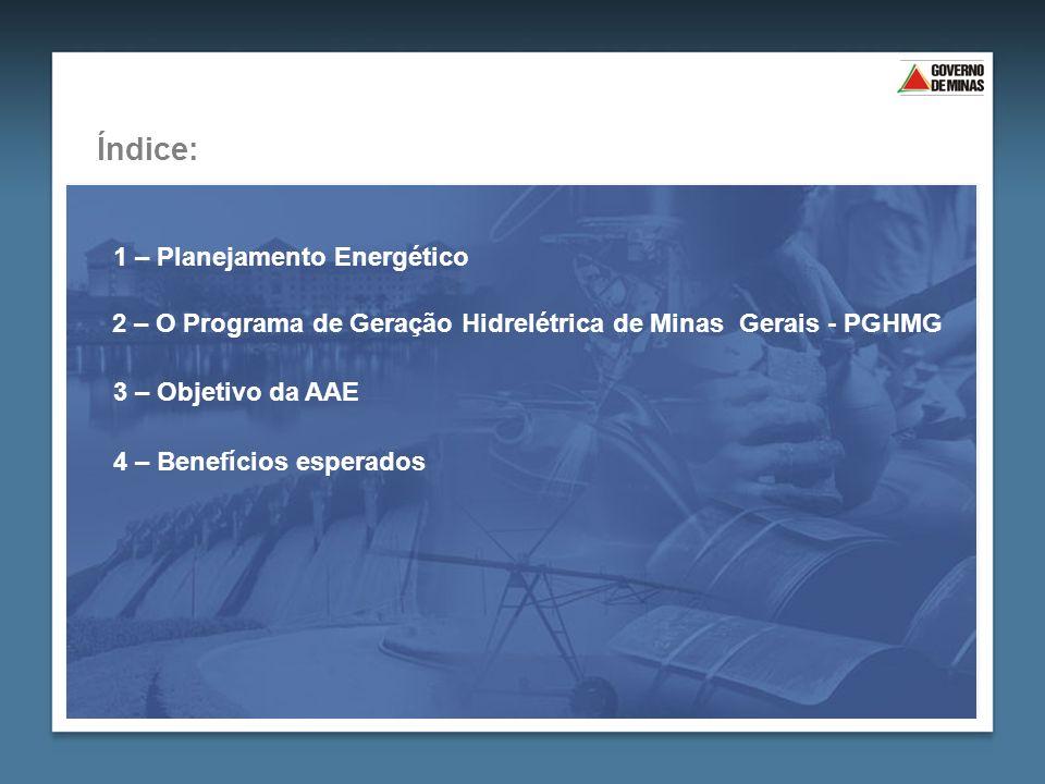 3 – Objetivo da AAE 2 – O Programa de Geração Hidrelétrica de Minas Gerais - PGHMG Índice: 1 – Planejamento Energético 4 – Benefícios esperados