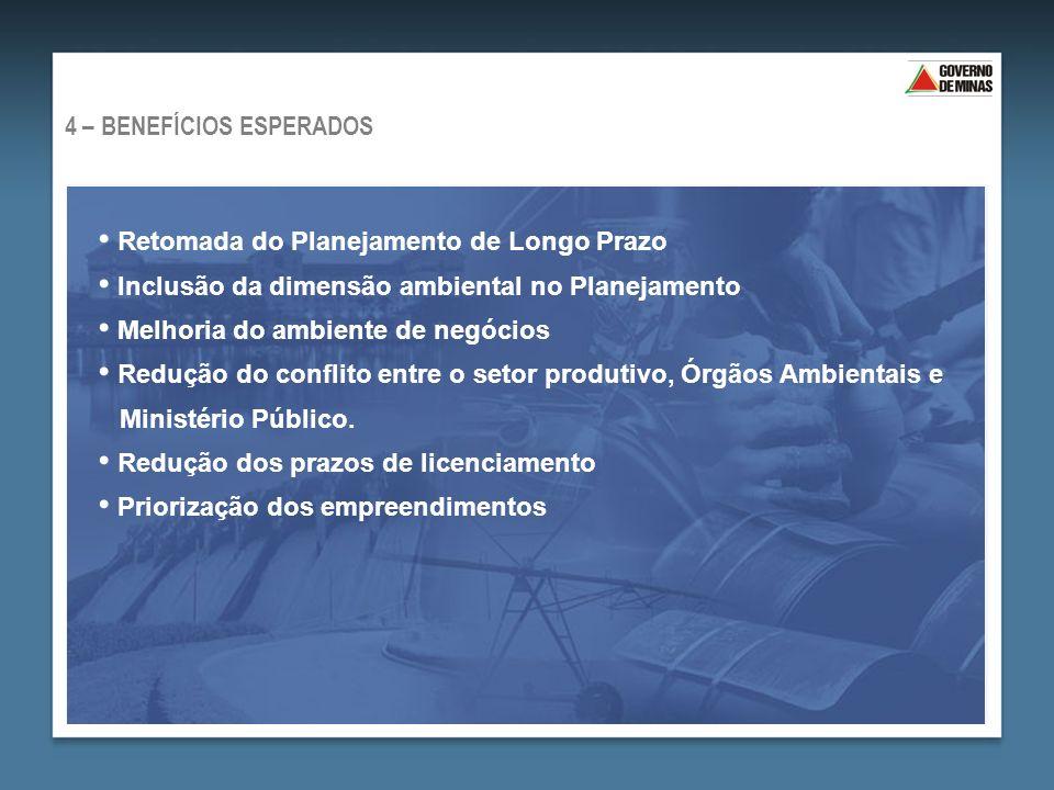 Retomada do Planejamento de Longo Prazo Inclusão da dimensão ambiental no Planejamento Melhoria do ambiente de negócios Redução do conflito entre o setor produtivo, Órgãos Ambientais e Ministério Público.