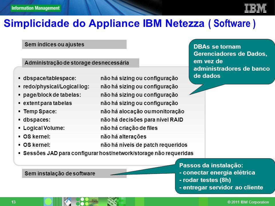 © 2011 IBM Corporation 13 Simplicidade do Appliance IBM Netezza ( Software ) dbspace/tablespace:não há sizing ou configuração redo/physical/Logical lo
