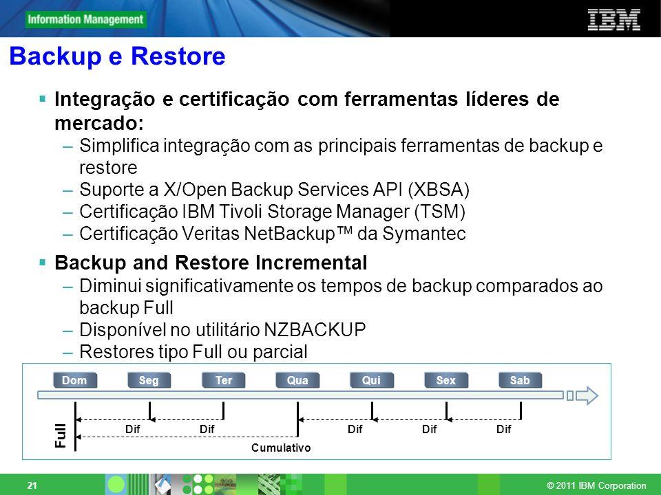 © 2011 IBM Corporation 21 Backup e Restore Integração e certificação com ferramentas líderes de mercado: –Simplifica integração com as principais ferr