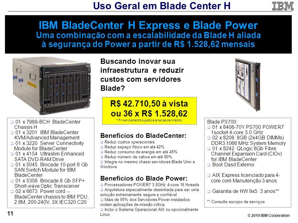 © 2010 IBM Corporation 11 IBM BladeCenter H Express e Blade Power Uma combinação com a escalabilidade da Blade H aliada à segurança do Power a partir
