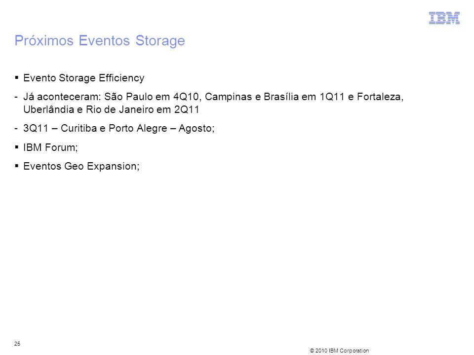 © 2010 IBM Corporation 25 Próximos Eventos Storage Evento Storage Efficiency -Já aconteceram: São Paulo em 4Q10, Campinas e Brasília em 1Q11 e Fortale