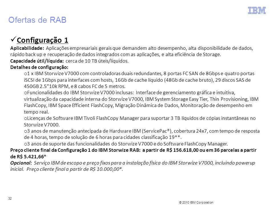 © 2010 IBM Corporation 32 Ofertas de RAB Configuração 1 Aplicabilidade: Aplicações empresariais gerais que demandem alto desempenho, alta disponibilid