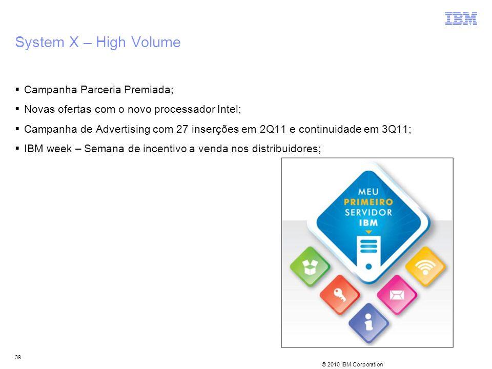 © 2010 IBM Corporation 39 System X – High Volume Campanha Parceria Premiada; Novas ofertas com o novo processador Intel; Campanha de Advertising com 2