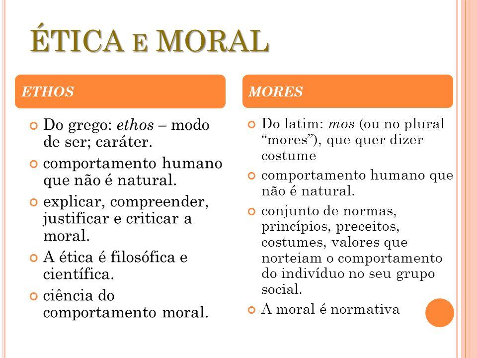 ÉTICA E MORAL Do grego: ethos – modo de ser; caráter. comportamento humano que não é natural. explicar, compreender, justificar e criticar a moral. A