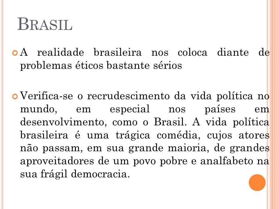 B RASIL A realidade brasileira nos coloca diante de problemas éticos bastante sérios Verifica-se o recrudescimento da vida política no mundo, em espec