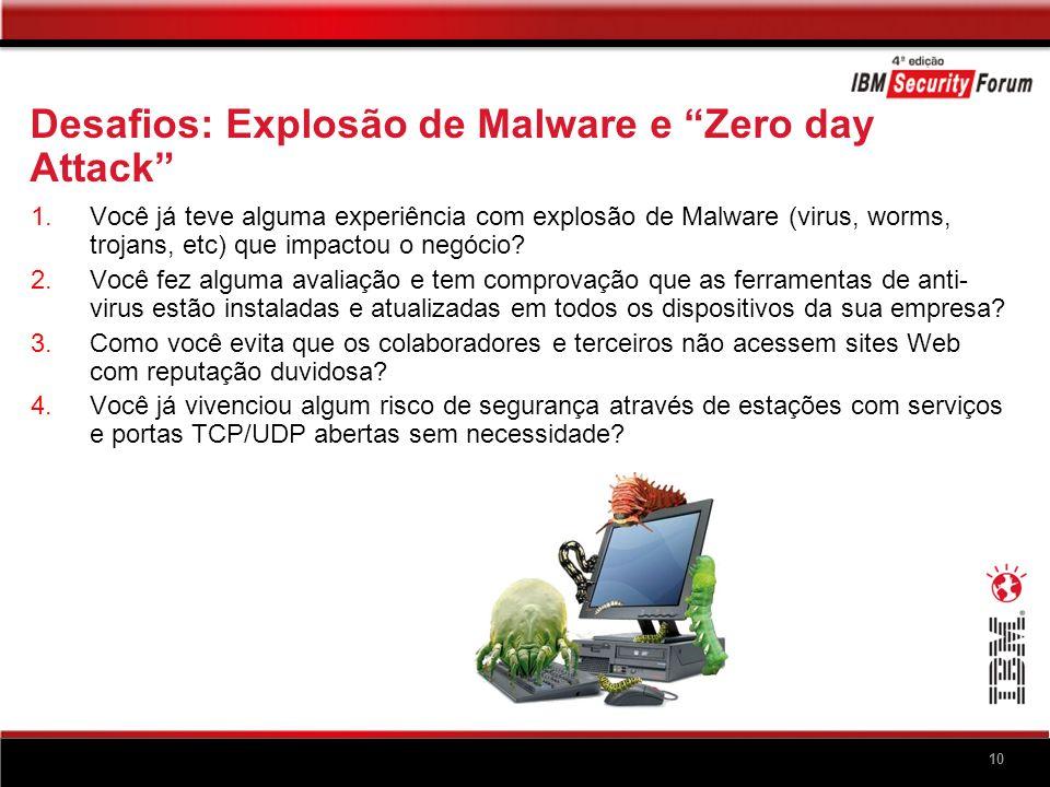 10 Desafios: Explosão de Malware e Zero day Attack 1.Você já teve alguma experiência com explosão de Malware (virus, worms, trojans, etc) que impactou