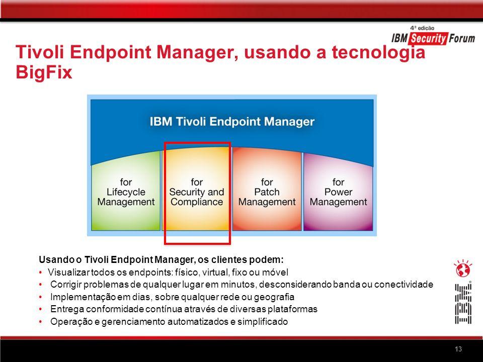 13 Tivoli Endpoint Manager, usando a tecnologia BigFix Usando o Tivoli Endpoint Manager, os clientes podem: Visualizar todos os endpoints: físico, vir