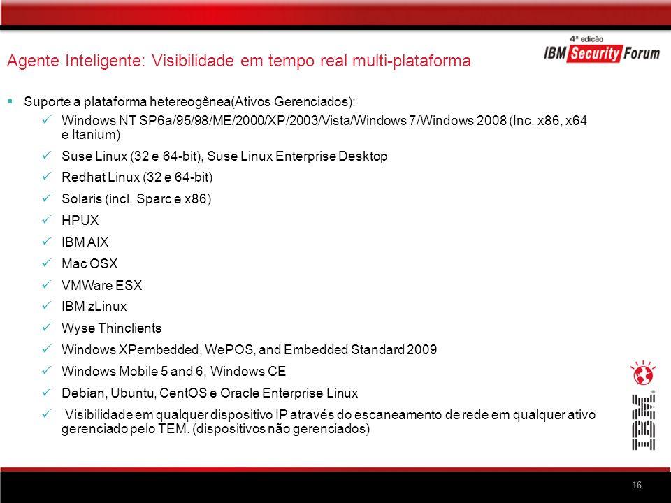 16 Agente Inteligente: Visibilidade em tempo real multi-plataforma Suporte a plataforma hetereogênea(Ativos Gerenciados): Windows NT SP6a/95/98/ME/200