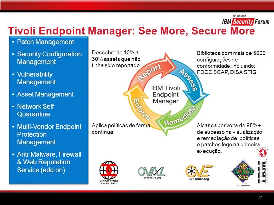 17 Tivoli Endpoint Manager: See More, Secure More Descobre de 10% a 30% assets que não tinha sido reportado Alcança por volta de 95%+ de sucesso na vi
