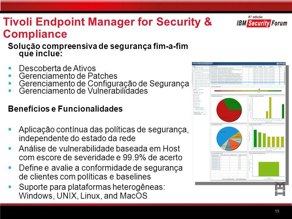 19 Solução compreensiva de segurança fim-a-fim que inclue: Descoberta de Ativos Gerenciamento de Patches Gerenciamento de Configuração de Segurança Ge