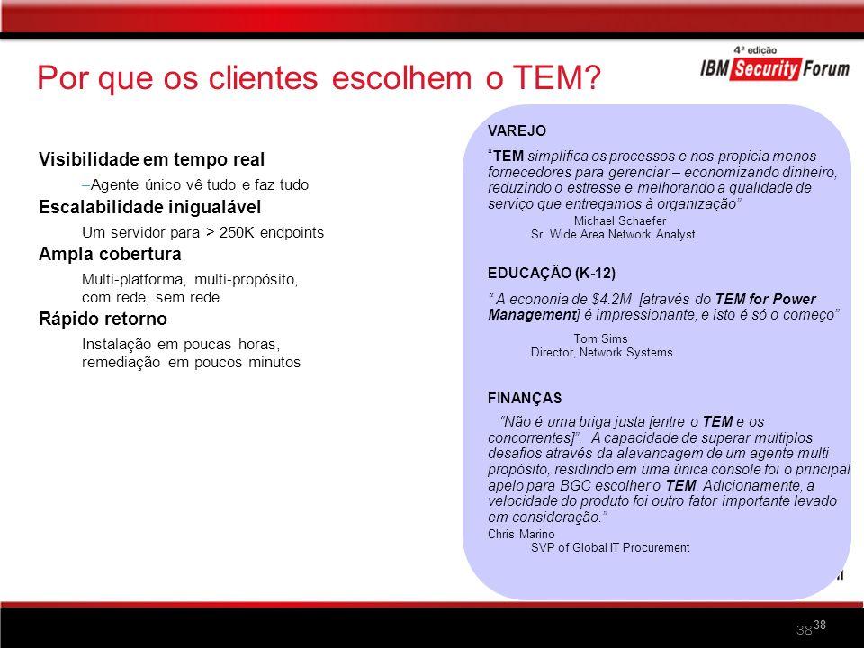 38 Por que os clientes escolhem o TEM? Visibilidade em tempo real –Agente único vê tudo e faz tudo Escalabilidade inigualável Um servidor para > 250K