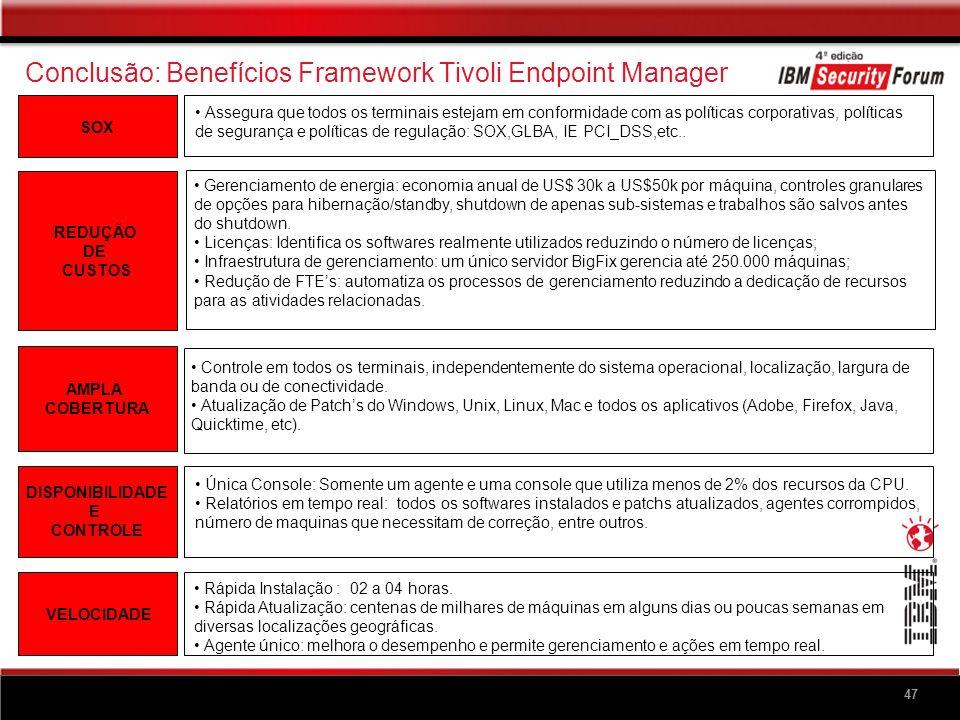 47 Conclusão: Benefícios Framework Tivoli Endpoint Manager SOX Assegura que todos os terminais estejam em conformidade com as políticas corporativas,