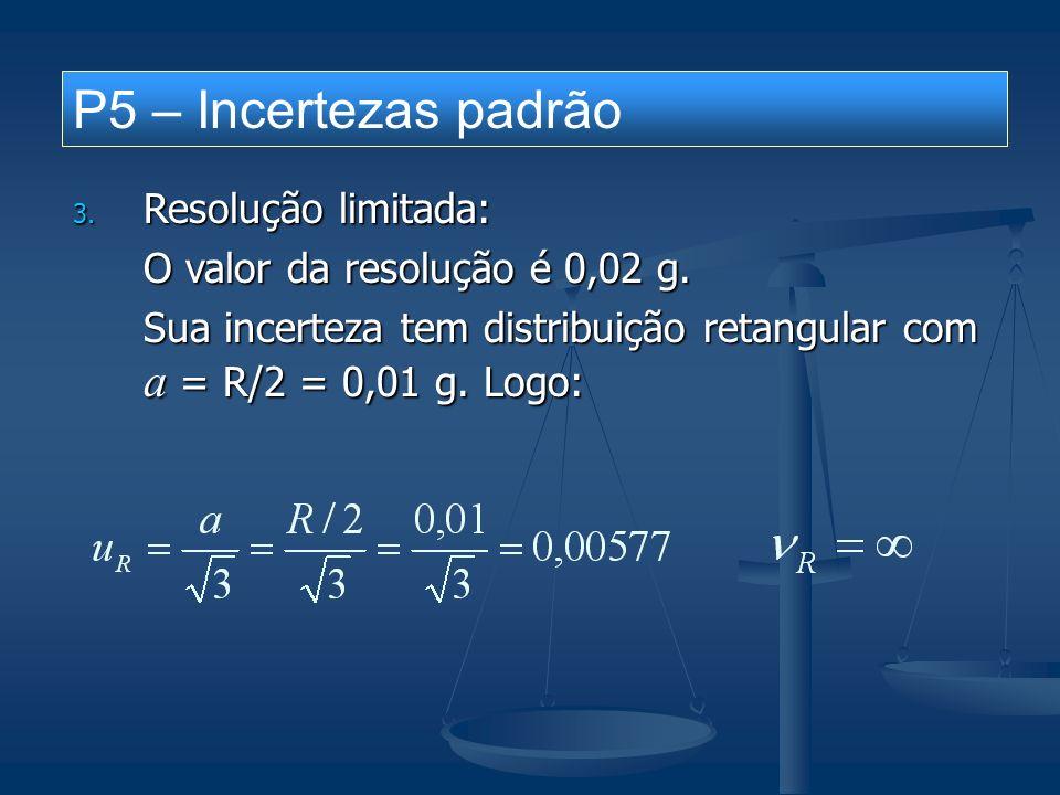 BALANÇO DE INCERTEZAS processo de medição Calibração de uma balança digital – ponto 20 g unidade:g fontes de incertezas efeitos sistemáticos efeitos aleatórios símbolodescriçãocorreçãoadistribuiçãouν Re repetitividade natural --normal0,01414 MP massa padrão -0,0050,002normal0,0010 R resolução limitada -0,01retang0,00577 CcCcCcCc correção combinada -0,005 ucucucuc incerteza combinada normal U incerteza expandida normal