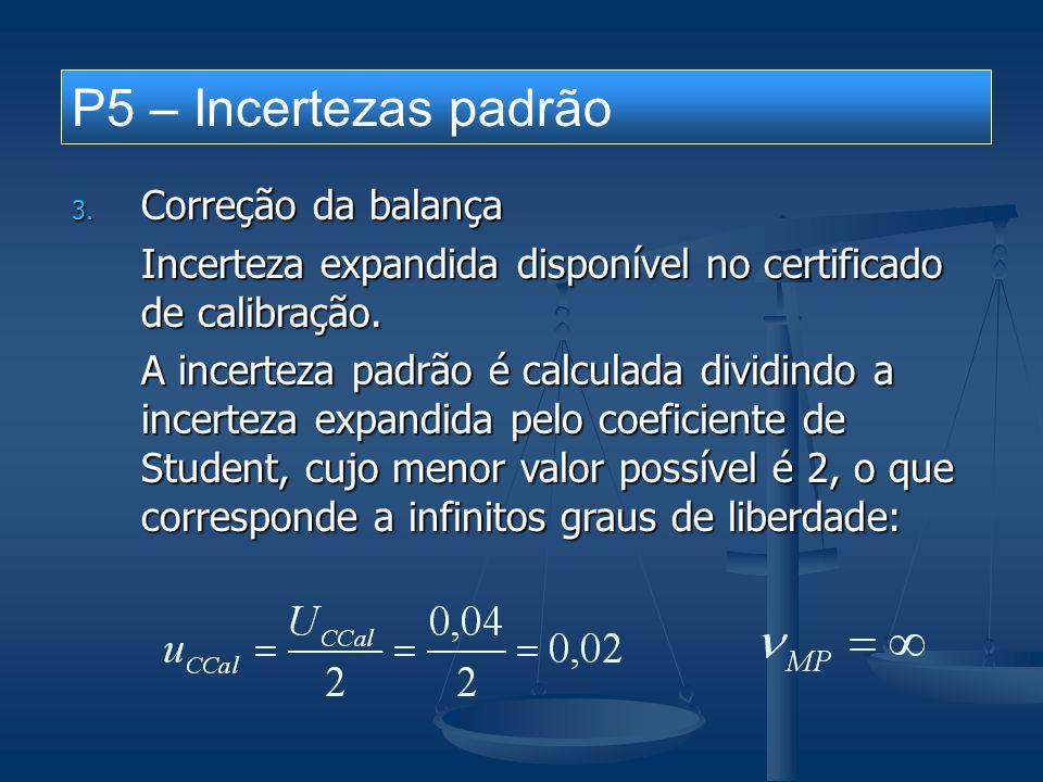 P5 – Incertezas padrão 4.