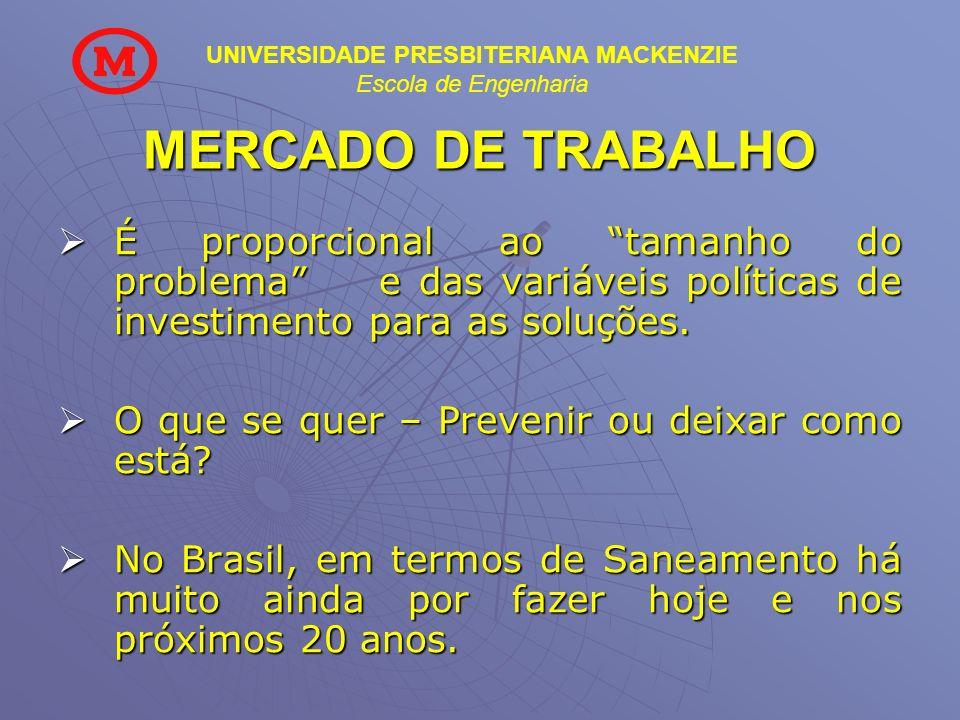 UNIVERSIDADE PRESBITERIANA MACKENZIE Escola de Engenharia MERCADO DE TRABALHO É proporcional ao tamanho do problema e das variáveis políticas de inves
