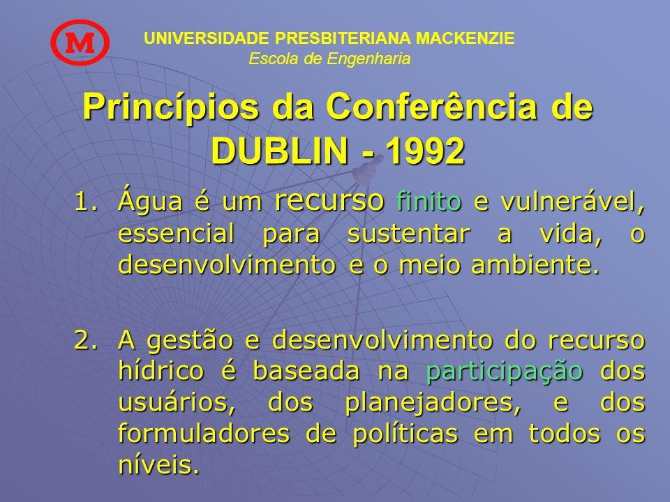 UNIVERSIDADE PRESBITERIANA MACKENZIE Escola de Engenharia Princípios da Conferência de DUBLIN - 1992 1.Água é um recurso finito e vulnerável, essencia