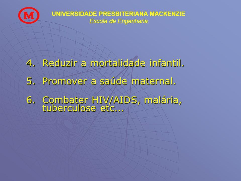 UNIVERSIDADE PRESBITERIANA MACKENZIE Escola de Engenharia 4.Reduzir a mortalidade infantil. 5.Promover a saúde maternal. 6.Combater HIV/AIDS, malária,