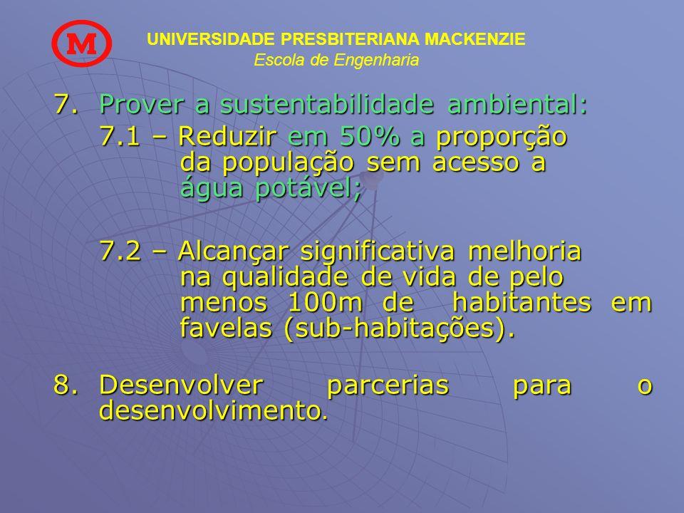 UNIVERSIDADE PRESBITERIANA MACKENZIE Escola de Engenharia 7.Prover a sustentabilidade ambiental: 7.1 – Reduzir em 50% a proporção da população sem ace