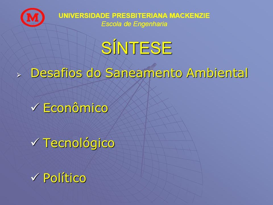 UNIVERSIDADE PRESBITERIANA MACKENZIE Escola de Engenharia SÍNTESE Desafios do Saneamento Ambiental Desafios do Saneamento Ambiental Econômico Econômic