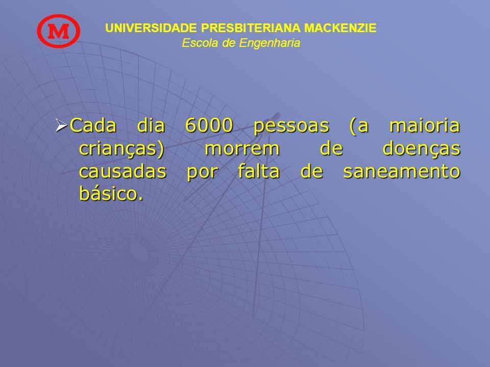 UNIVERSIDADE PRESBITERIANA MACKENZIE Escola de Engenharia Cada dia 6000 pessoas (a maioria crianças) morrem de doenças causadas por falta de saneament