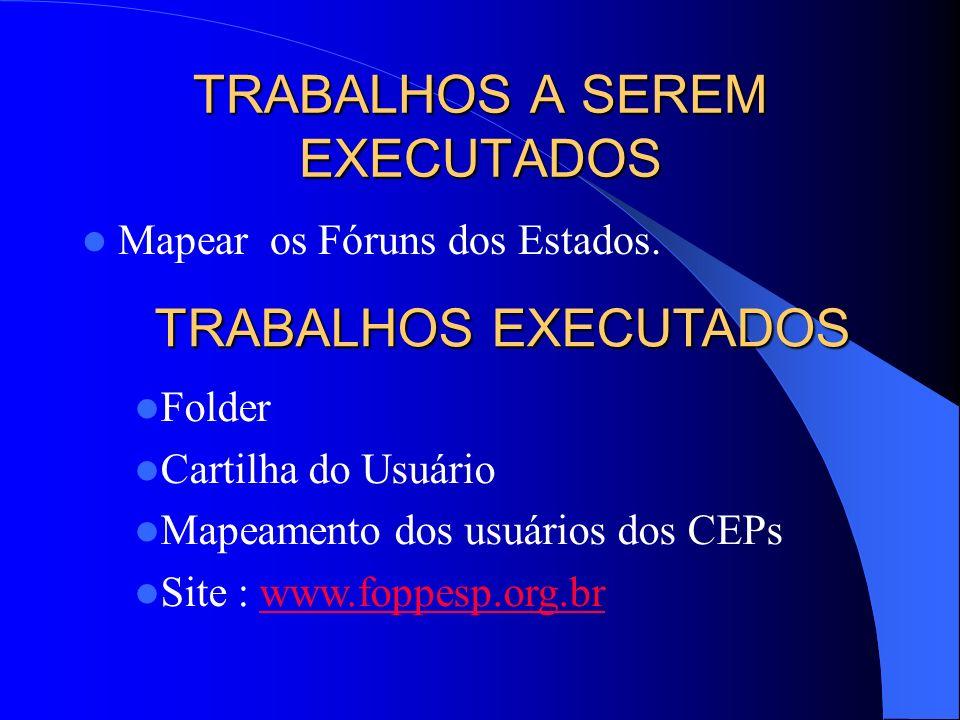 TRABALHOS A SEREM EXECUTADOS Mapear os Fóruns dos Estados. TRABALHOS EXECUTADOS Folder Cartilha do Usuário Mapeamento dos usuários dos CEPs Site : www