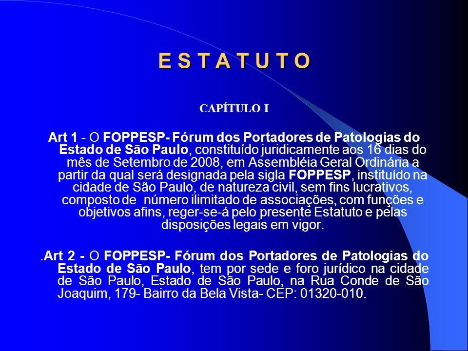 CAPÍTULO I Art 1 - O FOPPESP- Fórum dos Portadores de Patologias do Estado de São Paulo, constituído juridicamente aos 16 dias do mês de Setembro de 2