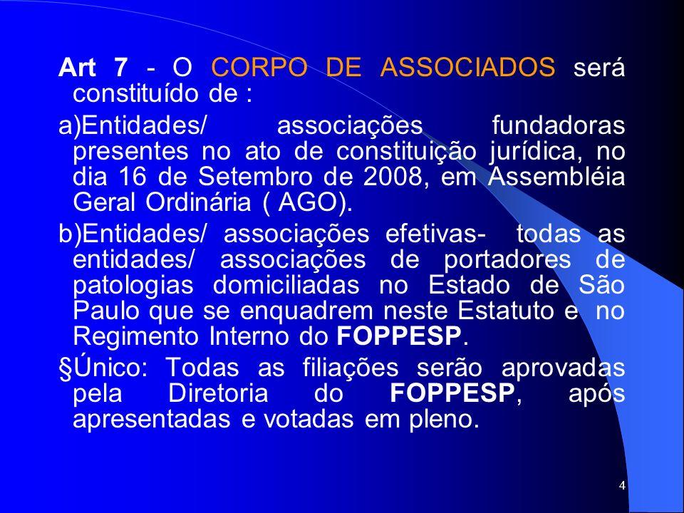 Diretoria do FOPPESP Art 24 -A será constituída de: 1Presidente; 1Vice-Presidente; 1Secretário Geral; 1 Secretário Adjunto; 1 Tesoureiro Geral; 1 Tesoureiro Adjunto, representantes indicados, por escrito, pelas Associações que compareceram a 75% das reuniões do FOPPESP.