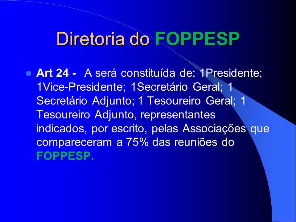 Diretoria do FOPPESP Art 24 -A será constituída de: 1Presidente; 1Vice-Presidente; 1Secretário Geral; 1 Secretário Adjunto; 1 Tesoureiro Geral; 1 Teso