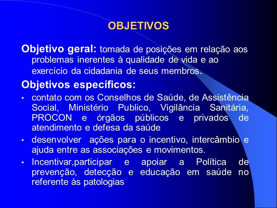 OBJETIVOS Objetivo geral: tomada de posições em relação aos problemas inerentes à qualidade de vida e ao exercício da cidadania de seus membros. Objet