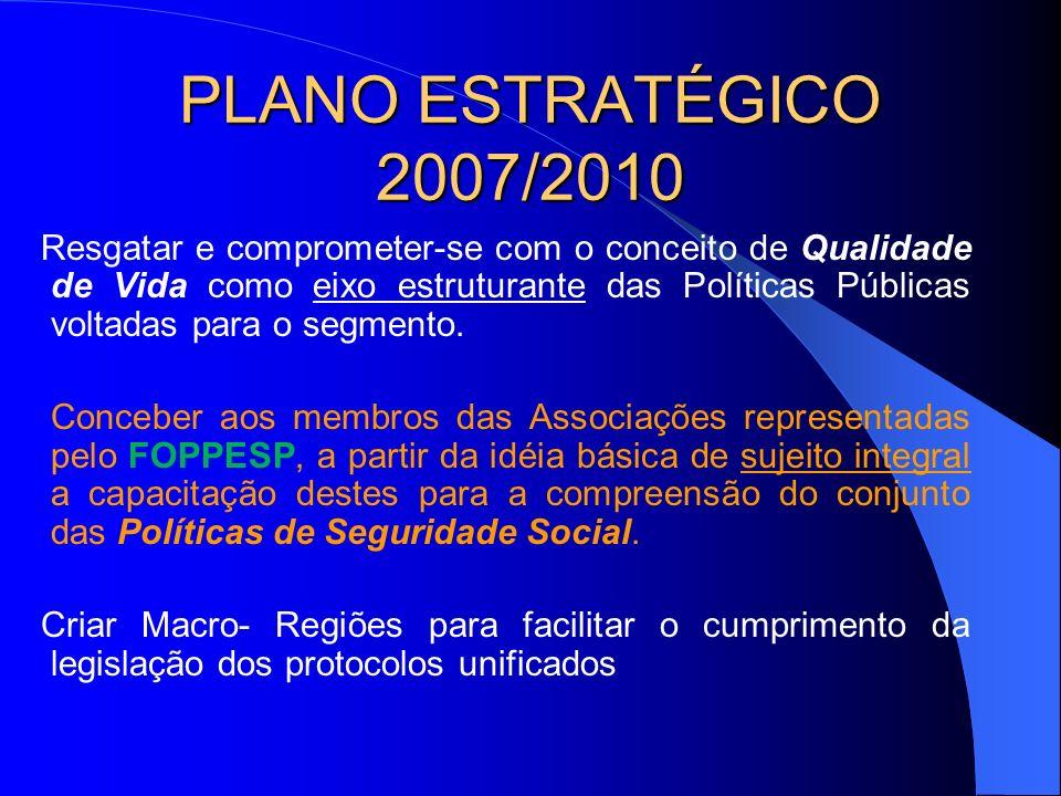 PLANO ESTRATÉGICO 2007/2010 Resgatar e comprometer-se com o conceito de Qualidade de Vida como eixo estruturante das Políticas Públicas voltadas para