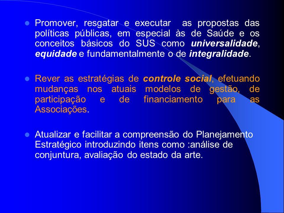 Promover, resgatar e executar as propostas das políticas públicas, em especial às de Saúde e os conceitos básicos do SUS como universalidade, equidade
