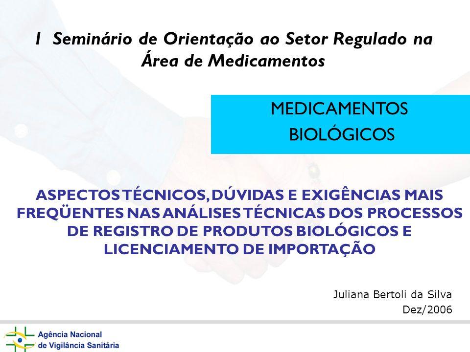 Juliana Bertoli da Silva Dez/2006 MEDICAMENTOS BIOLÓGICOS ASPECTOS TÉCNICOS, DÚVIDAS E EXIGÊNCIAS MAIS FREQÜENTES NAS ANÁLISES TÉCNICAS DOS PROCESSOS