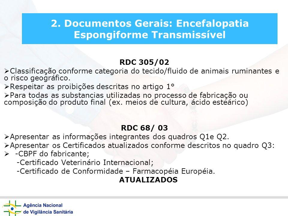 2. Documentos Gerais: Encefalopatia Espongiforme Transmissível RDC 305/02 Classificação conforme categoria do tecido/fluido de animais ruminantes e o
